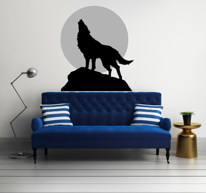 Coyote Howling at the Moon Vinyl Wall Decal