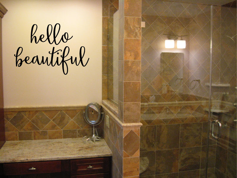 Hello Beautiful Vinyl Wall Words Decal Sticker Graphic