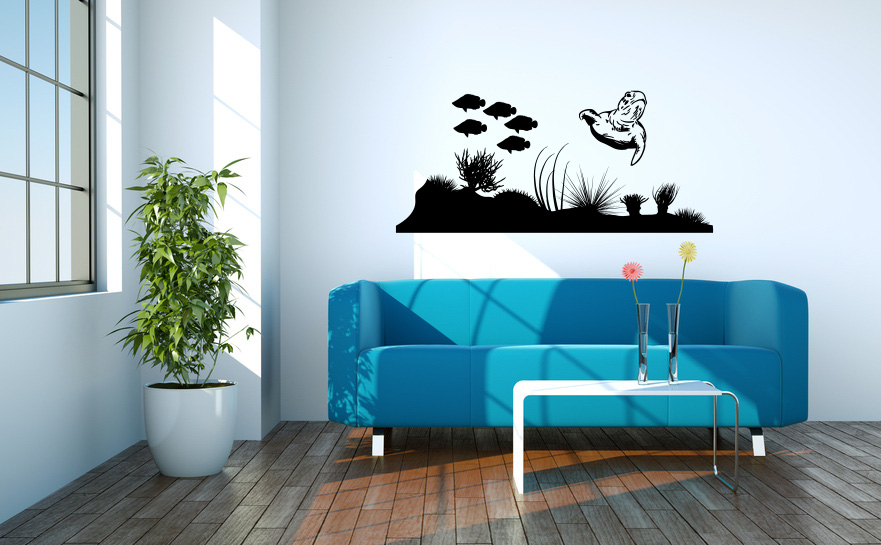 Ocean Life Tropical Fish and Turtle Wall Decal