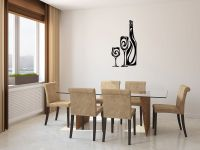 Wine Bottle and Glasses Vinyl Wall Decal Sticker Graphic