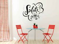 Salute with Wine Glasses Vinyl Wall Words Decal Sticker