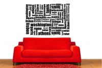 Famous World Cities Vinyl Wall Words Decal Sticker Graphic