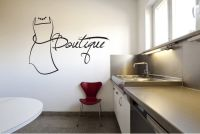 Boutique with Dress Vinyl Wall Words Decal Sticker Graphic
