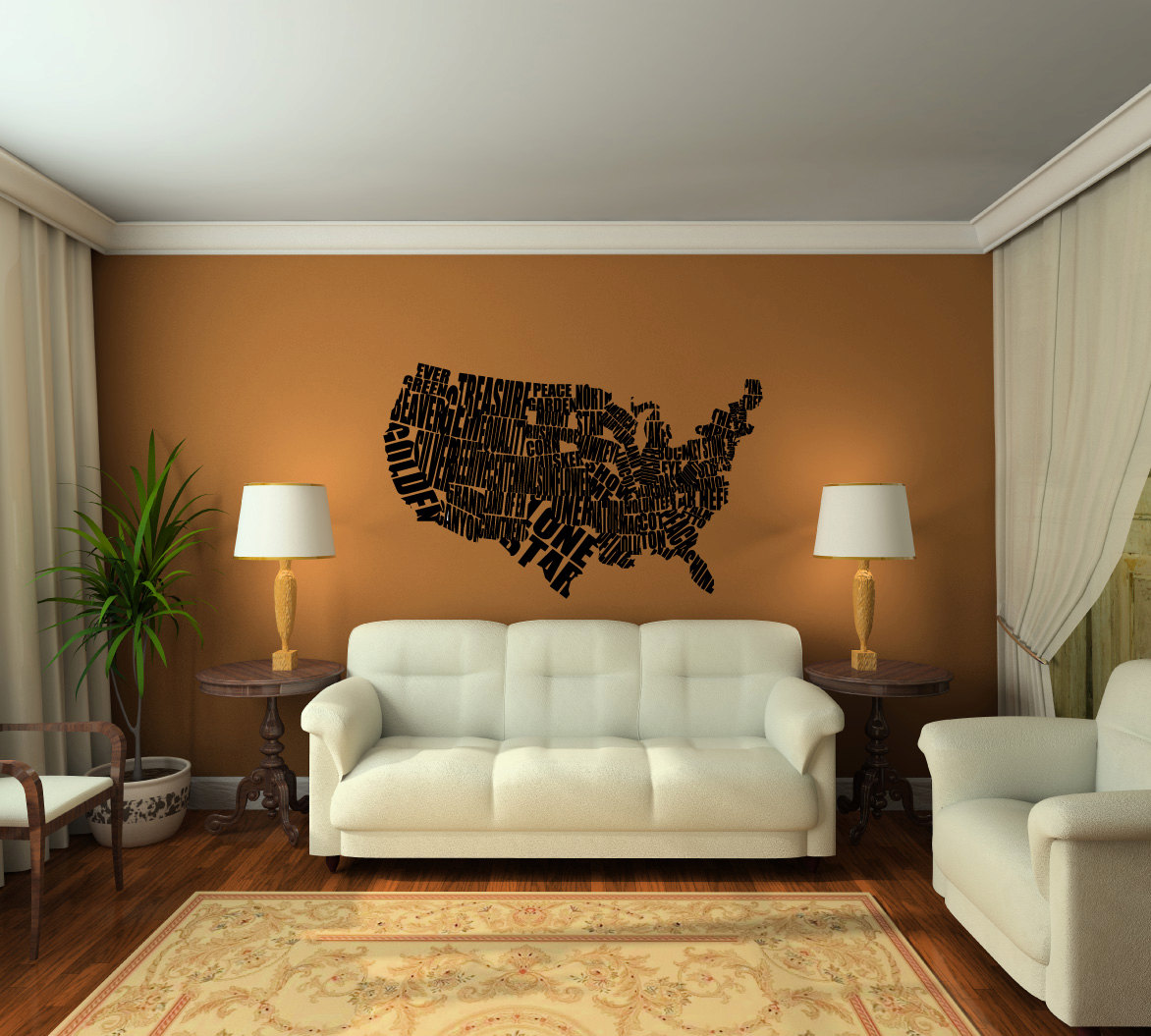 United States State Nickname Map Typography Vinyl Wall Decal Sticker Graphic