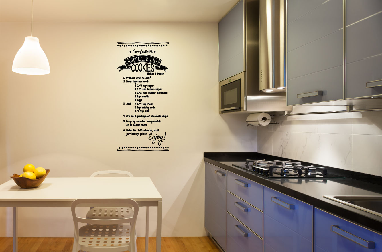 Chocolate Chip Cookies Recipe Vinyl Wall Words Decal Sticker