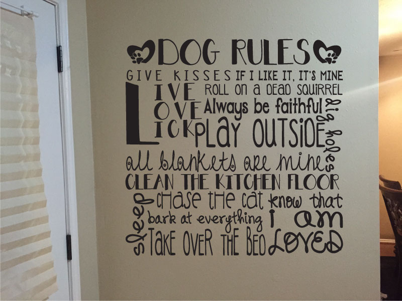 Dog Rules Vinyl Wall Words Decal Sticker Graphic