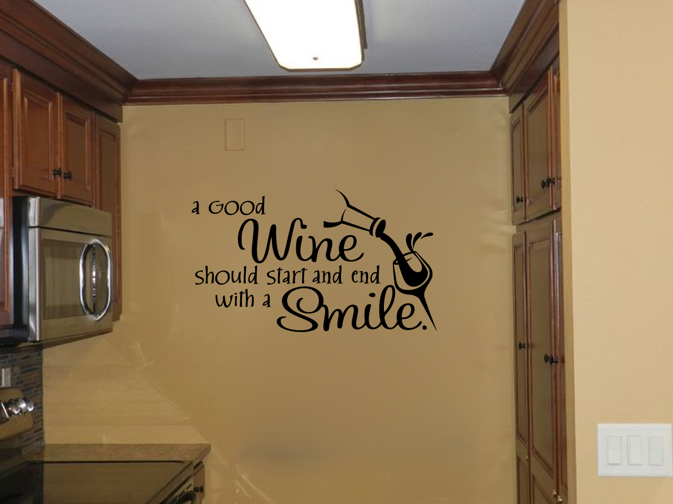 A Good Wine Should Start and End With A Smile Vinyl Wall Words Decal Sticker Graphic