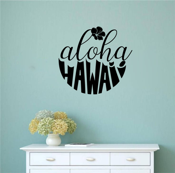 Aloha Hawaii and Hibiscus Silhouette Vinyl Wall Words Decal Sticker Graphic