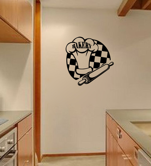 Bakery with Chef Hat and Rolling Pin Vinyl Wall Words Decal Sticker Graphic