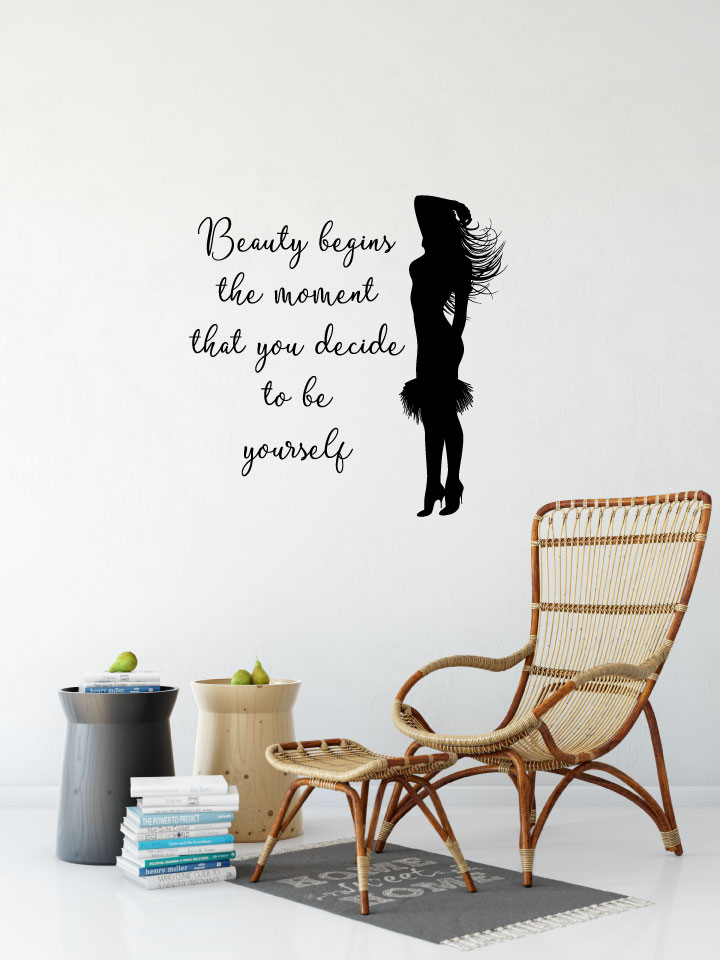 Beauty Begins the Moment That You Decide To Be Yourself with Dancing Girl Silhouette Vinyl Wall Deca