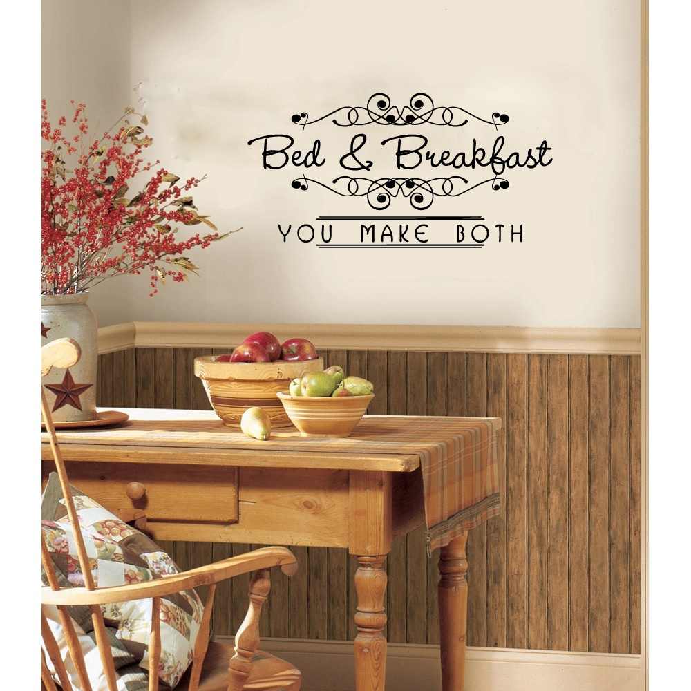 Bed and Breakfast You Make Both Vinyl Wall Words Decal Sticker Graphic
