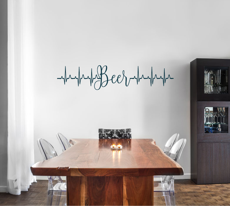 Beer Heartbeat Vinyl Wall Words Decal Sticker Graphic