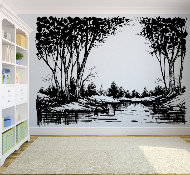 Lake with Birch Trees and Pines Wall Decal