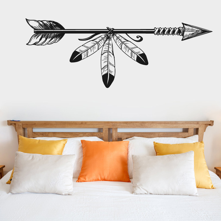 Boho Bohemian Arrow and Feathers Vinyl Wall Decal Sticker Graphic