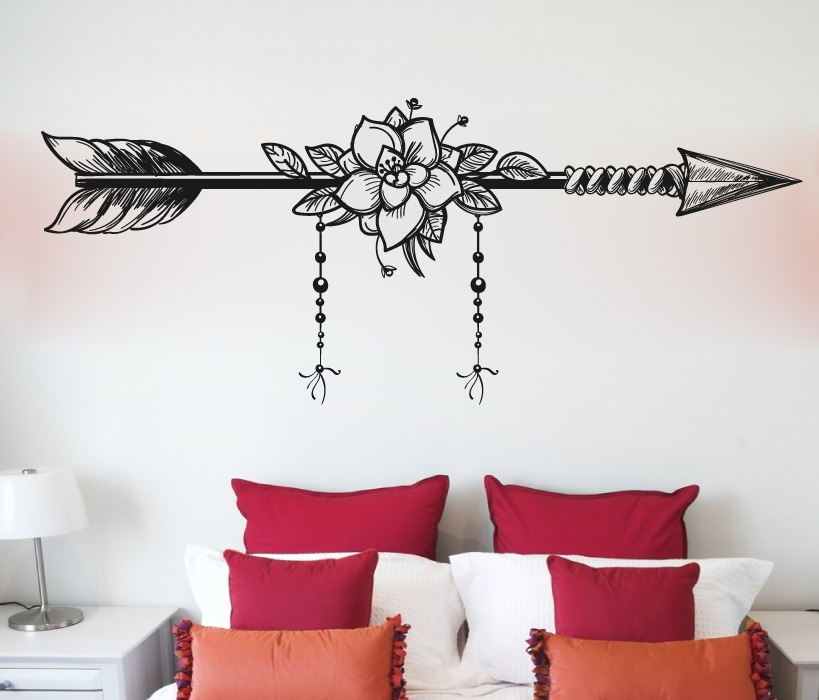 Boho Bohemian Arrow and Rose Vinyl Wall Decal Sticker Graphic
