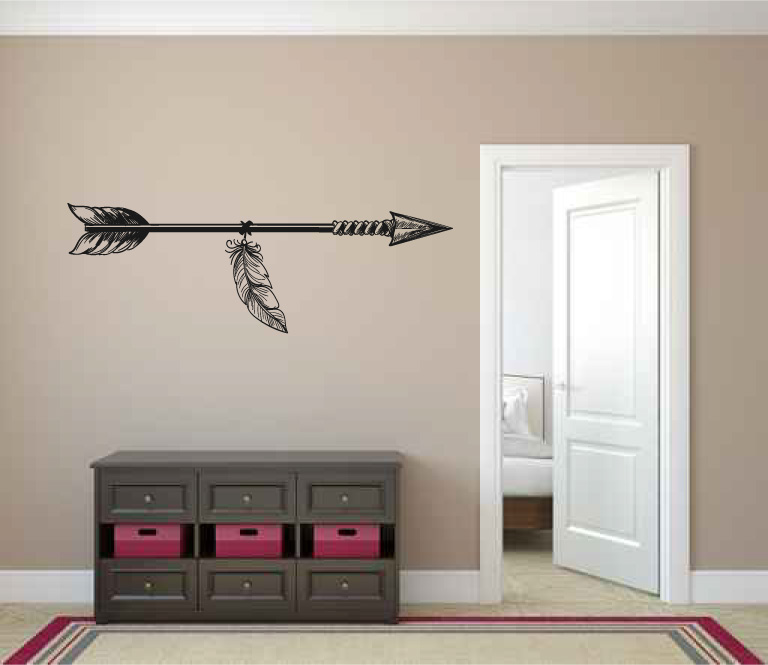 Boho Bohemian Arrow and Feather Vinyl Wall Decal Sticker Graphic