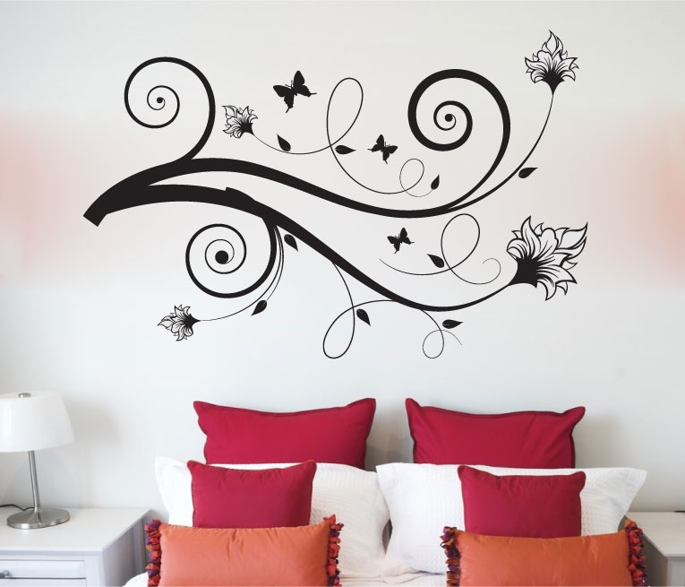 Butterfly and Flower Scrolls Silhouette Vinyl Wall Words Decal Sticker Graphic