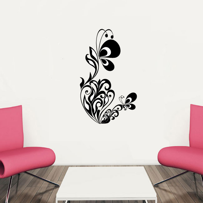 Butterfly and Vine Vinyl Wall Decal Sticker Graphic