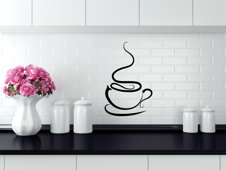 Coffee Cup Swirl Vinyl Wall Decal Sticker