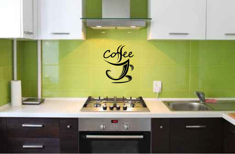 Coffee Cup Swirl Vinyl Words Wall Decal Sticker