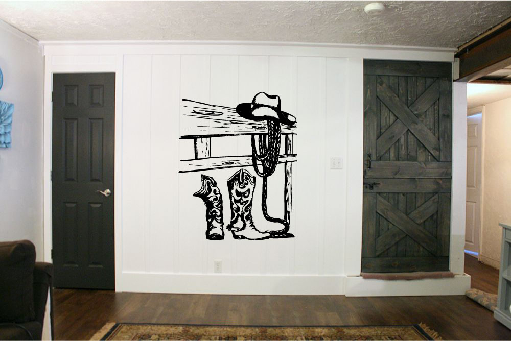 Cowboy Boots Hat and Rope with Fence Vinyl Wall Words Decal Sticker Graphic