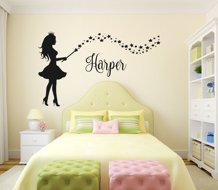 Fairy with Wand and Stars Silhouette with Optional Custom Monogram Name Vinyl Wall Words Decal Stick