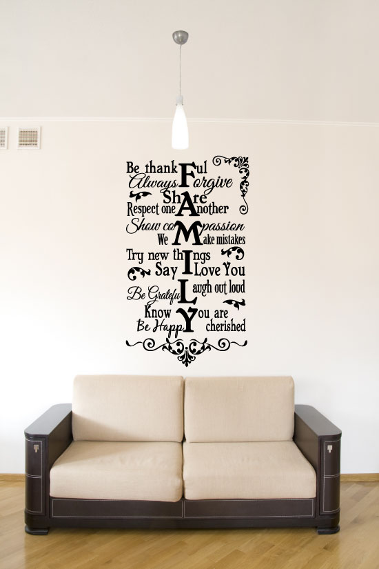Family Be Thankful Vinyl Wall Words Decal Sticker