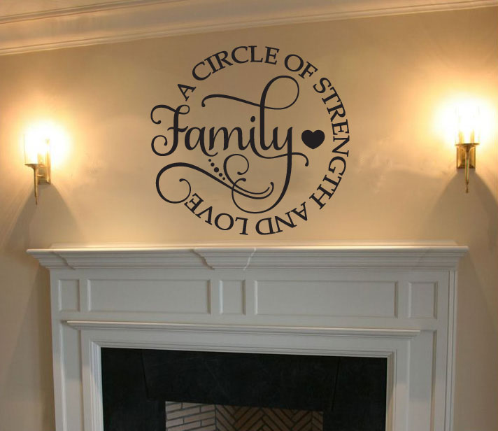 Family A Circle of Strength and Love Vinyl Wall Words Decal Sticker Graphic