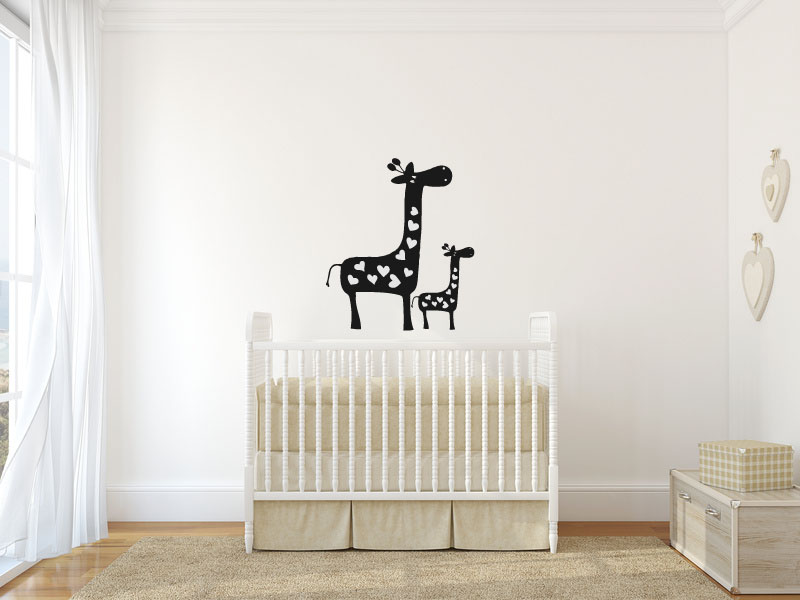 Giraffe Mom and Baby Calf Silhouette with Hearts Vinyl Wall Decal Sticker Graphic