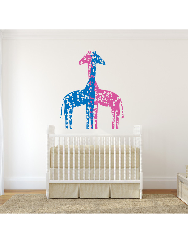 Giraffes Paint Splatter Vinyl Wall Decal Sticker
