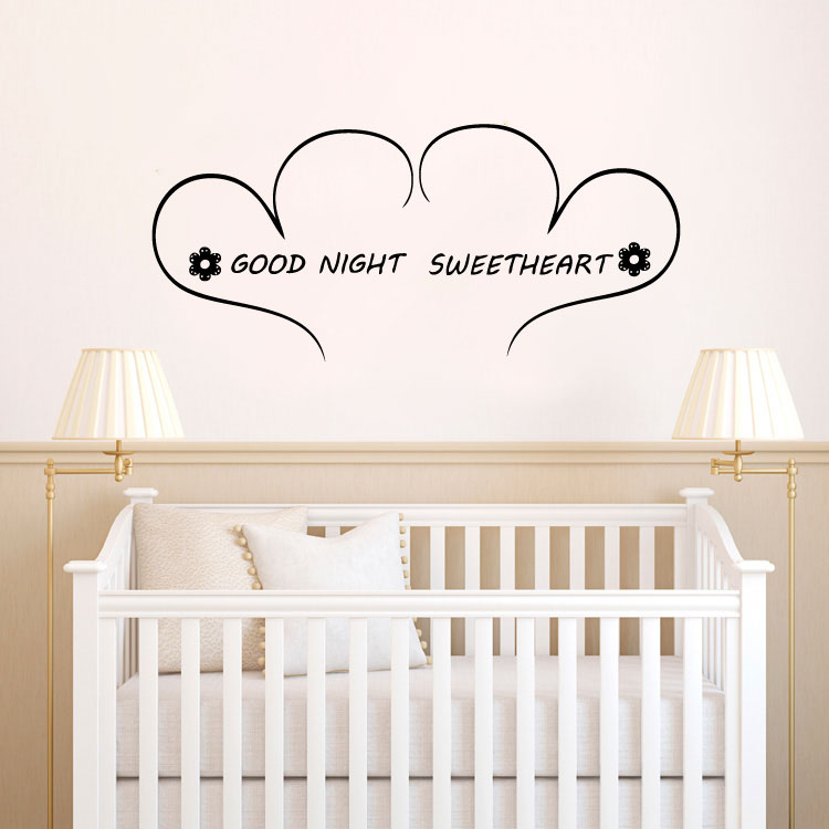 Goodnight Sweetheart. We Love You Oh So Much. Sweet Dreams. Sleep Tight. Vinyl Wall Words Decal Stic
