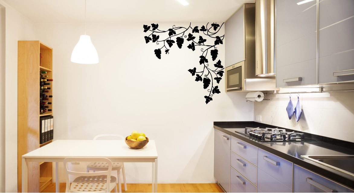 Grapevine and Leaves Vinyl Wall Decal Sticker
