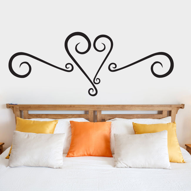 Heart Faux Headboard Vinyl Wall Words Decal Sticker Graphic