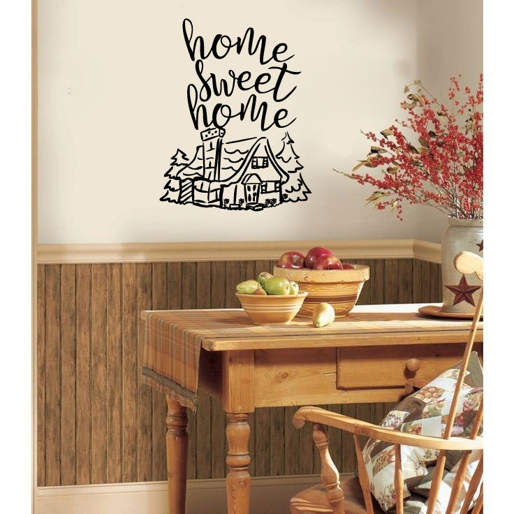 Home Sweet Home with Cabin and Pine Trees Vinyl Wall Words Decal Sticker Graphic