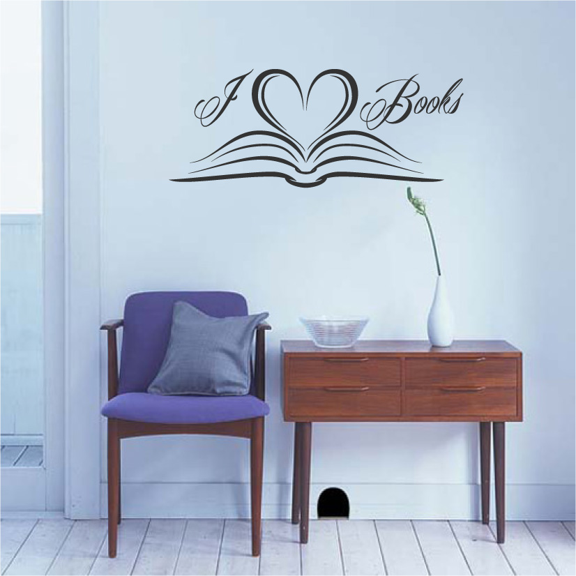 I Love Books Vinyl Wall Words Decal Sticker Graphic