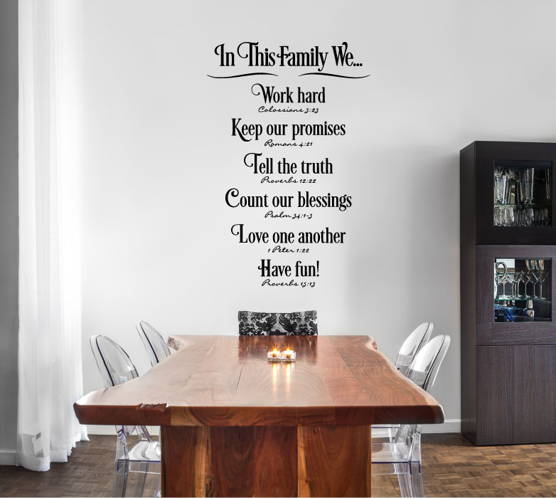 In This Family Vinyl Wall Words Decal Sticker