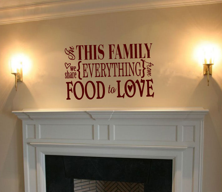 In This Family We Share Everything From Food to Love Vinyl Wall Words Decal Sticker
