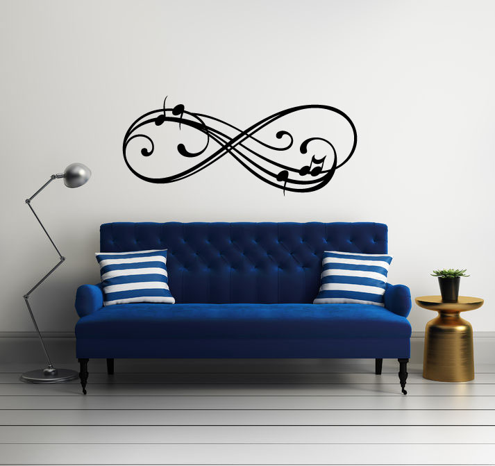 Infinity Sign Music Notes Vinyl Wall Decal Sticker Graphic