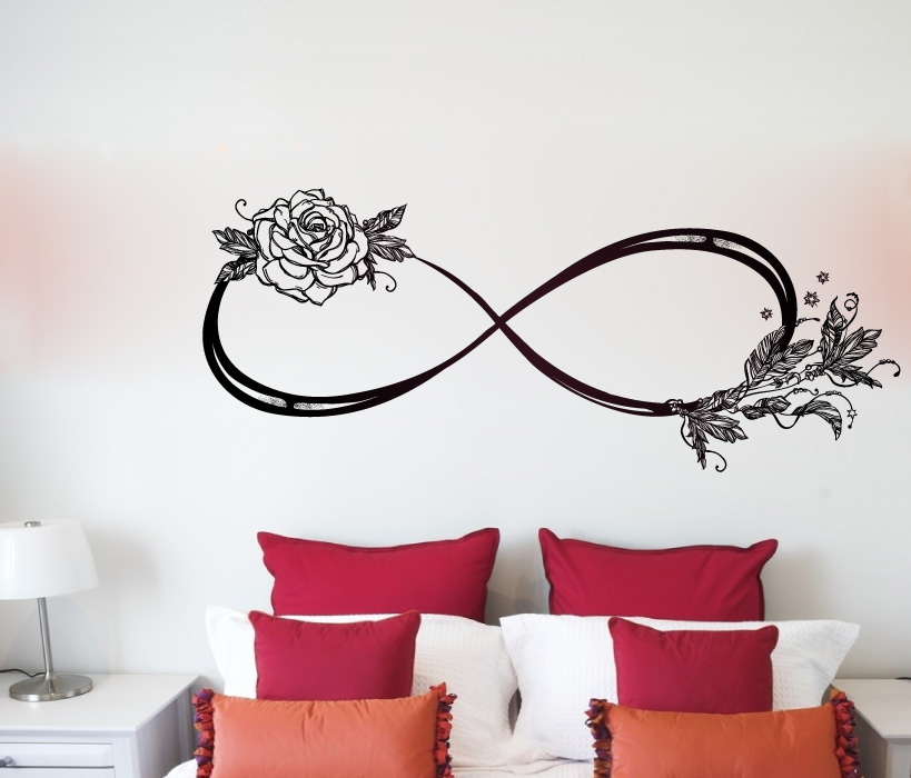 Infinity Sign Symbol with Rose and Feathers Vinyl Wall Decal Sticker Graphic