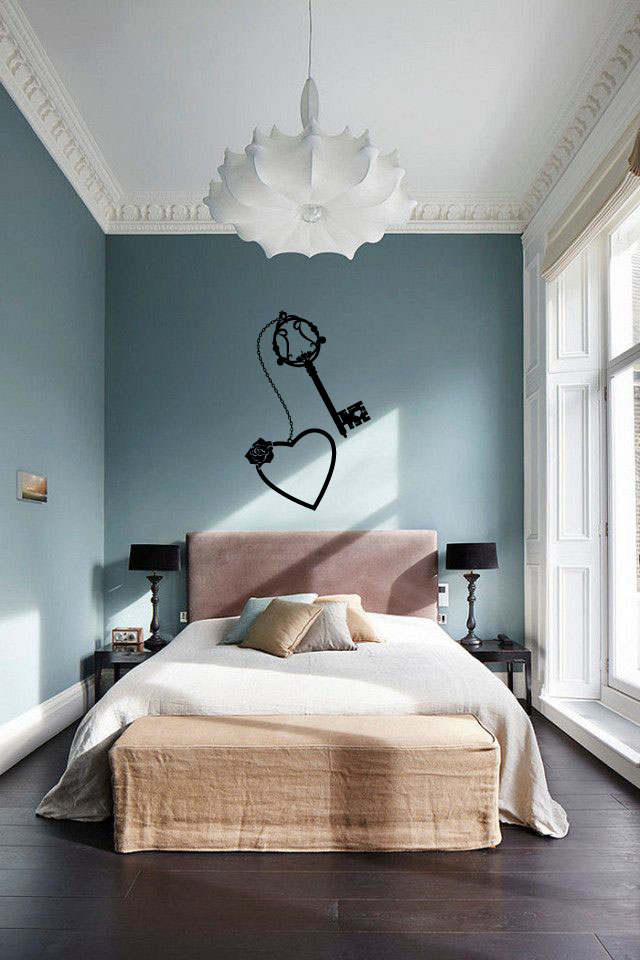Heart with Chain and Key Silhouette Vinyl Wall Decal Sticker Graphic