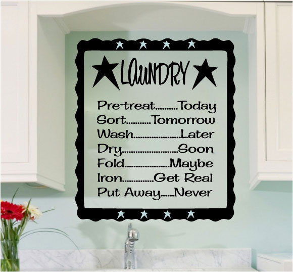 Laundry List Vinyl Wall Words Decal Sticker