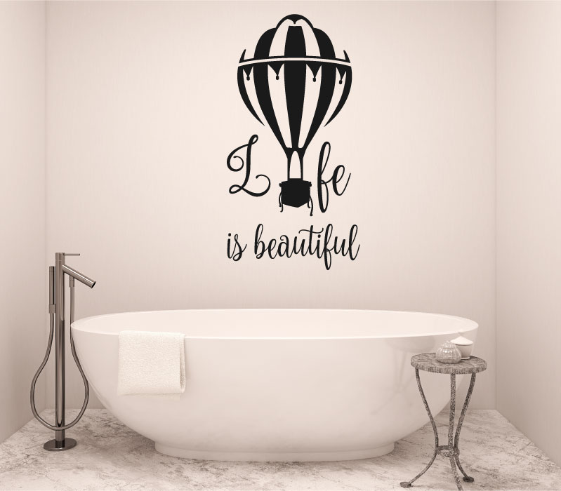 Life is Beautiful with Hot Air Balloon Vinyl Wall Words Decal Sticker