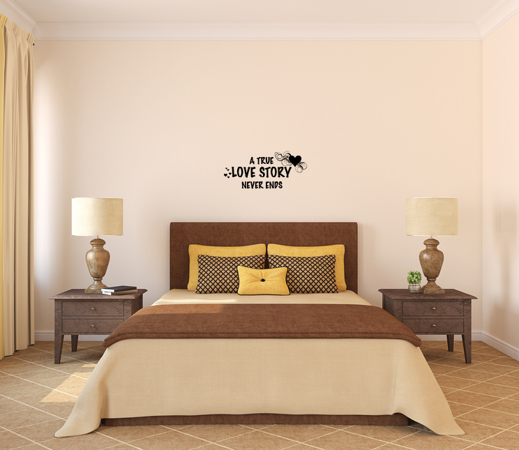 A True Love Story Never Ends Vinyl Wall Words Decal
