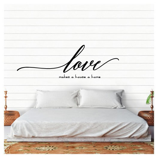 Love Makes A House A Home Vinyl Wall Words Decal Sticker