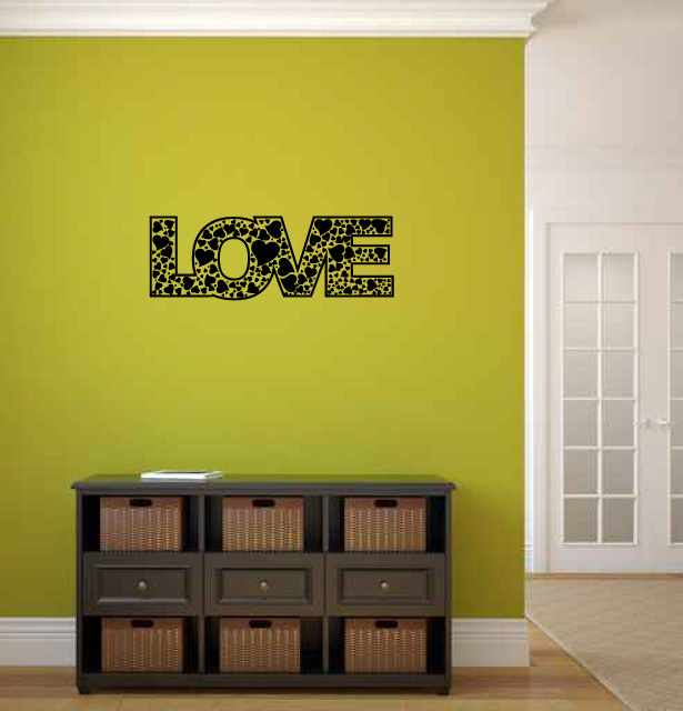 Love with Hearts Vinyl Wall Words Decal Sticker