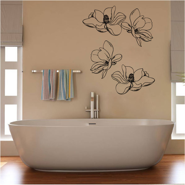 Magnolia Flowers Silhouette Vinyl Wall Decal Sticker Graphic