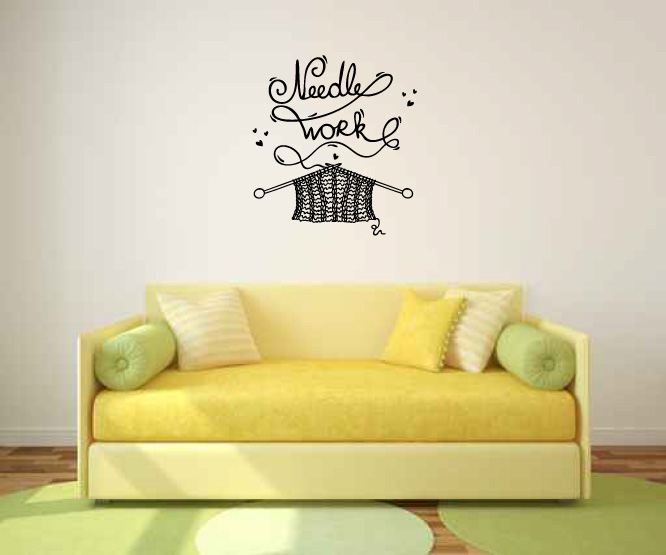 Needle Work Knitting Vinyl Wall Words Decal Sticker