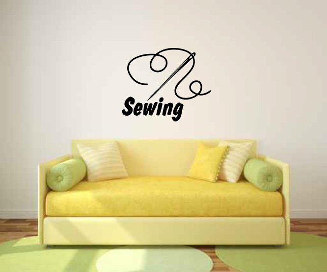 Sewing Needle and Thread Vinyl Wall Words Decal Sticker
