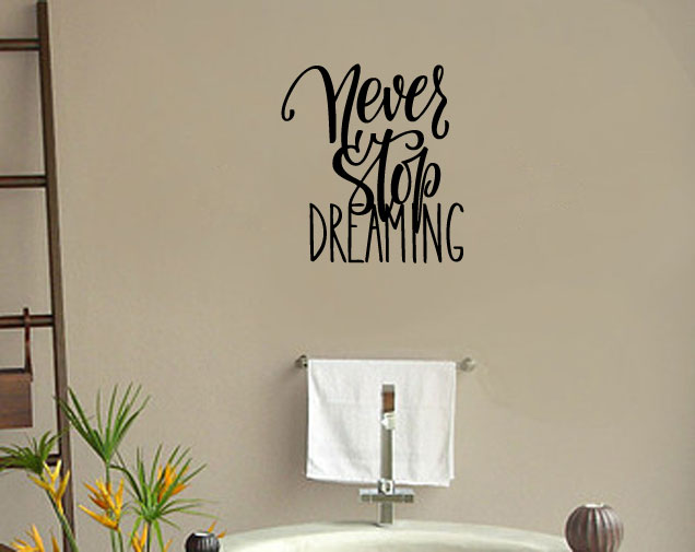 Never Stop Dreaming Vinyl Wall Words Decal Sticker Graphic