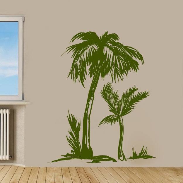 Tall Skinny Tropical Palm Tree Vinyl Wall Decal Sticker Graphic
